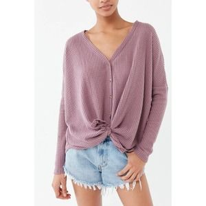 Out From Under Jojo Oversized Thermal Button Down Top, size S Small Women's